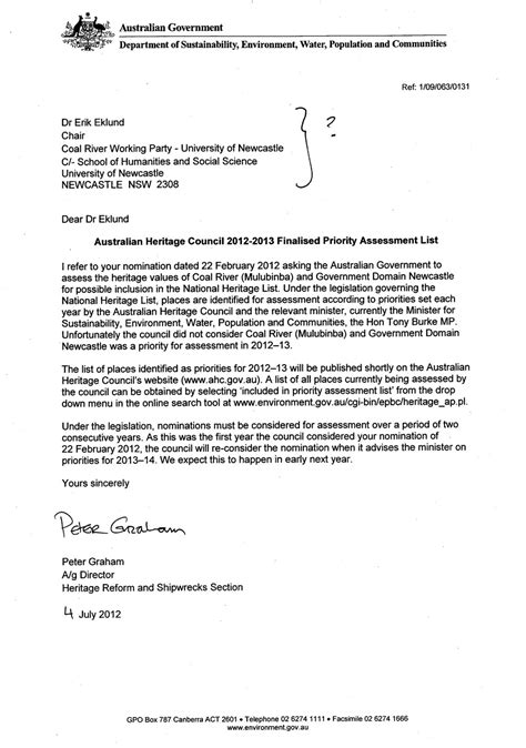 Jrf Award Letter Dec 2012 national nomination for newcastle 2012 living
