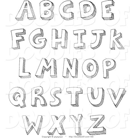 White Letters Sketch 1 free black and white alphabet clip 42