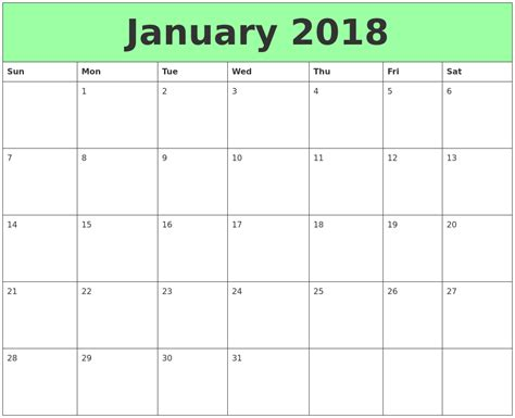 printable calendar for january 2018 april 2018 printable monthly calendar