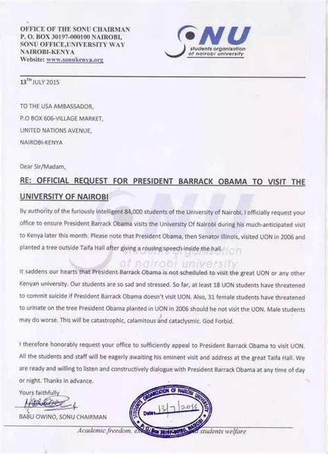 Official Letter Kenya President Uhuru Kenyatta Warns Babu Owino On Barack Obama