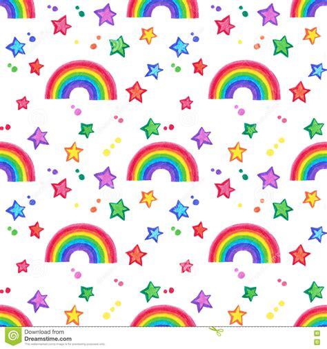 rainbow pattern doodle rainbow and stars doodle seamless pattern stock