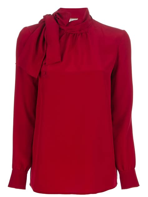 red blouses for women saint laurent silk blouse in red lyst