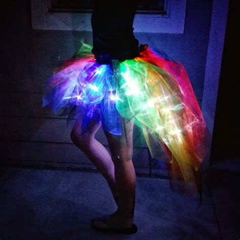 light up rave clothes light up rainbow and black tapered bustle tutu by bouldertutus