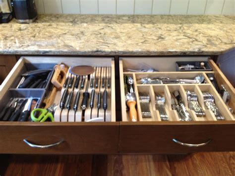 kitchen utensils storage cabinet knife block and silverware dividers in the drawer