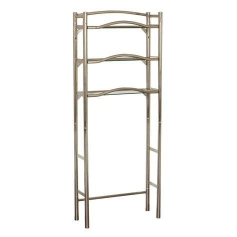 brushed nickel bathroom shelving unit shop allen roth 25 in w x 63 5 in h x 9 5 in d metal and