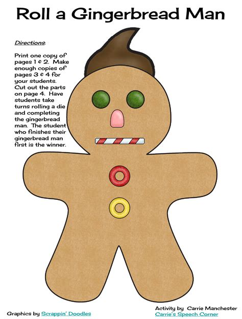 printable gingerbread dice game the gingerbread man printable characters search results