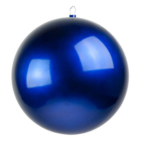 blue metallic finish shatterproof bauble single 400mm