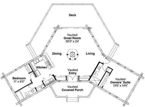 hexagon floor plans log home plan with hexagonal great room 72162da 1st