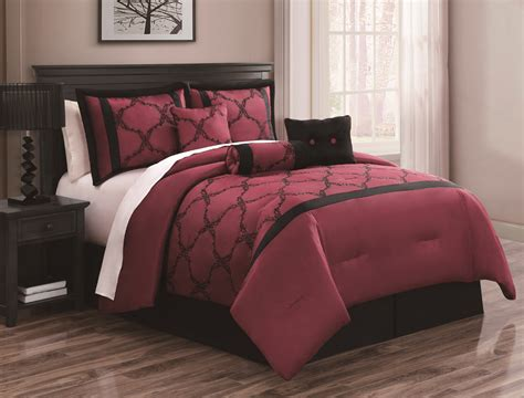 7 piece queen gracie burgundy and black comforter set