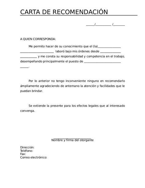 carta de recomendacion laboral destinatario 2591649 carta de recomendacion