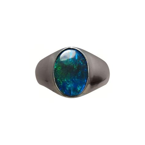 black opal mens solitaire black opal ring men green blue oval flashopal
