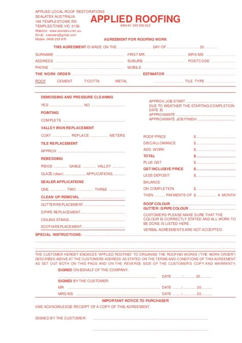 western power design quotation application form applied roofing quote form