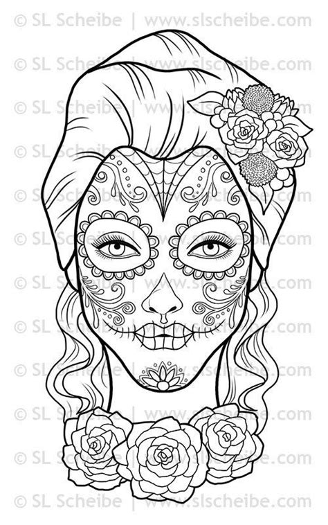 dia de los muertos calavera coloring page digital st day of the dead calavera girl