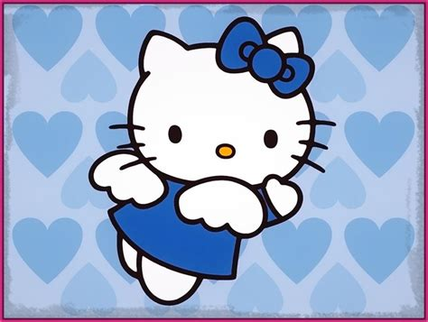 imagenes hermosas en color azul tiernos y bonitos dibujos de hello kitty en color