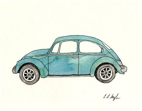 volkswagen cer pink original watercolor painting blue volkswagen beetle