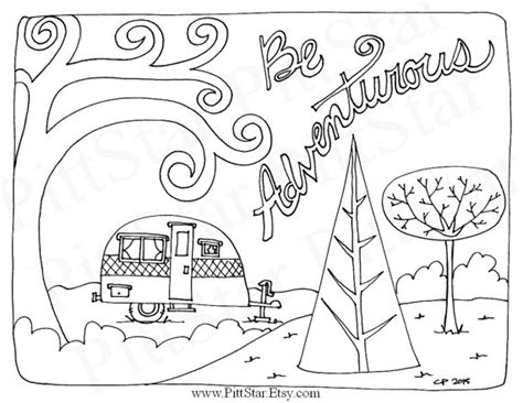 coloring pages for adults travel instant download whimsical travel trailer adult printable