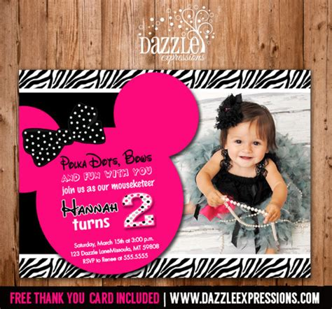 Printable Minnie Mouse Birthday Invitation Girls First Or Second Birthday Party Free Thank 2nd Birthday Invitations Templates Free
