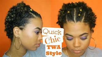 easy twa hairstyles quick chic twa style easy type 4 natural hair youtube
