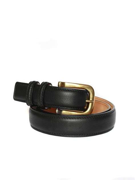 louise black leather belt with gold brass
