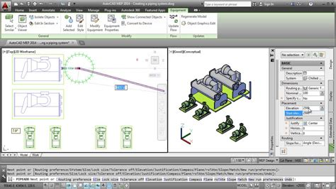Pipe Design by Autocad Mep 2014 Creating A Piping System Youtube