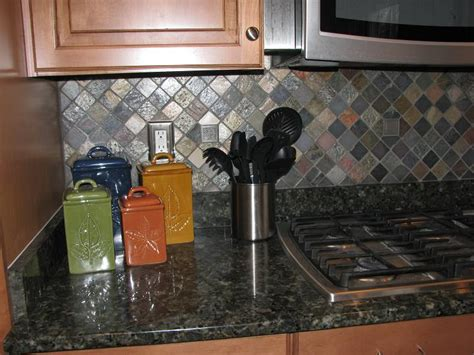 tumbled slate backsplash ceramictec multi color tumbled slate kitchen backsplash