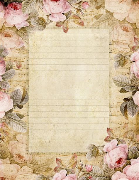 printable stationary with roses lilac lavender the fairest blossom