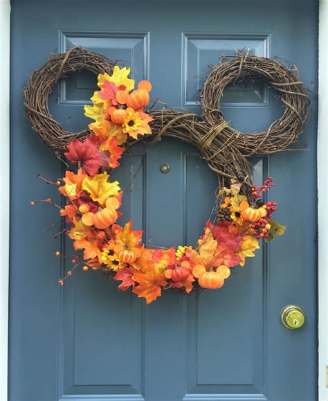 diy fall mickey wreath wanderings and wonderings disney