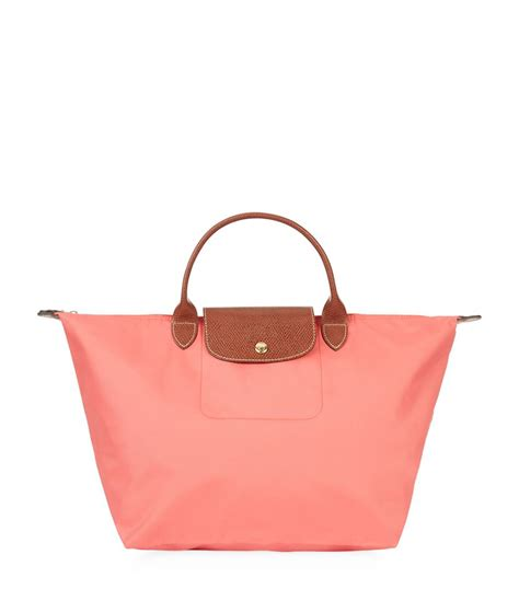 Longch Le Pliage Lucky Medium Handle Msh longch le pliage medium handbag in pink lyst