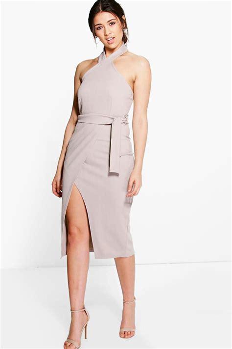 Tie Waist Dress boohoo womens high neck tie waist wrap midi dress ebay