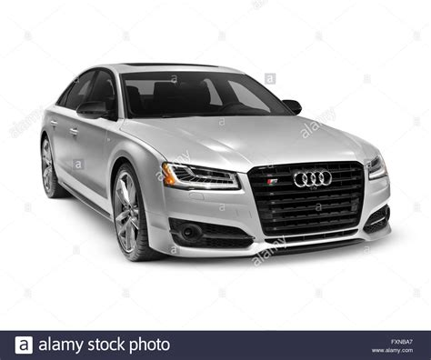 car white background silver 2016 audi s8 plus sedan luxury car isolated on