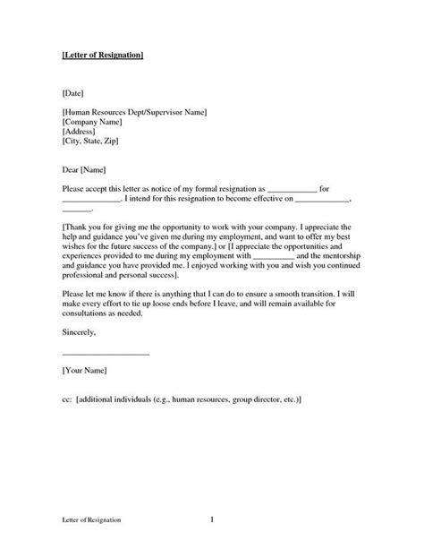 printable sample letter resignation form resignation