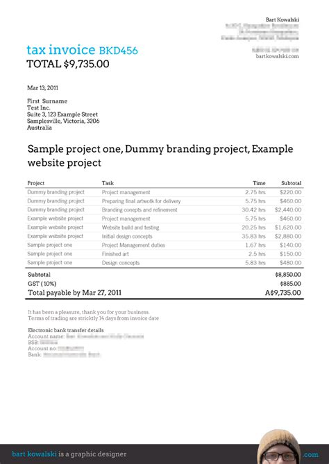 Project Invoice Template free invoice templates for billings 3 bart kowalski