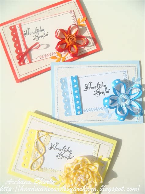 Handmade Cards With Ribbon - handmade cards by archana some more ribbon flowers