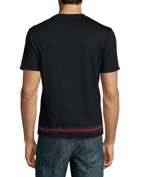 Hem Guchi Black gucci black v neck sleeve t shirt w web hem