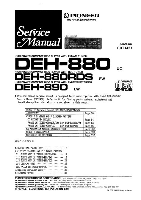 Pioneer Deh880 Rds Service Manual Immediate Download