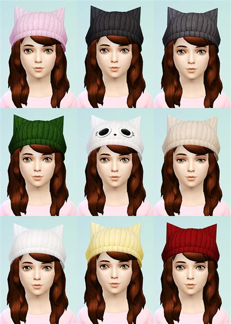 jsboutique hair 1 comes in all the default ea hair my sims 4 blog knit beret and cat beanies for girls by