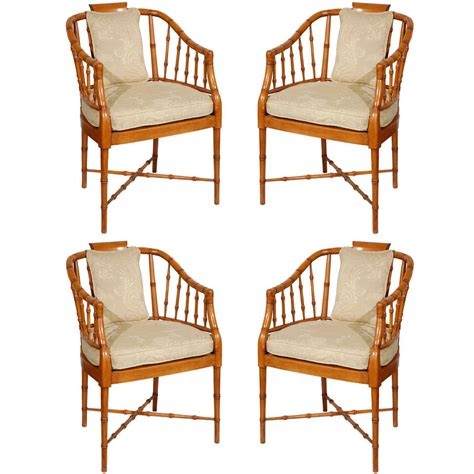 set of armchairs set of four hollywood regency faux bamboo armchairs for