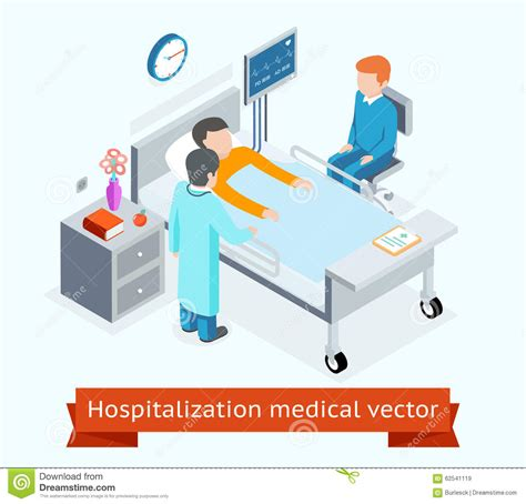 bed medicine hospitalization medical vector 3d isometric stock vector