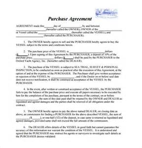 purchase agreement template sle boat purchase agreement 6 free documents