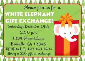 white elephant gift exchange invitation print your own 5x7 or