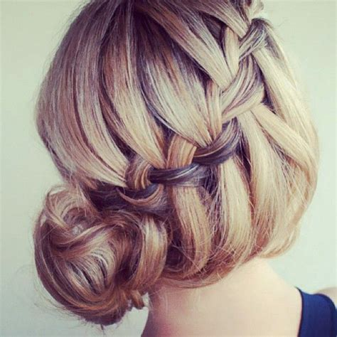 waterfall braid bun 28 diy hairstyles french waterfall braid to bun hair and beauty