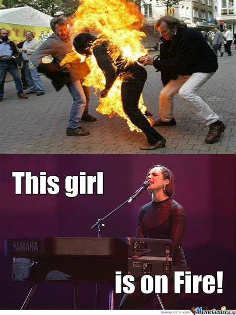 Fire Girl Meme - girl on fire by trollercoaster meme center
