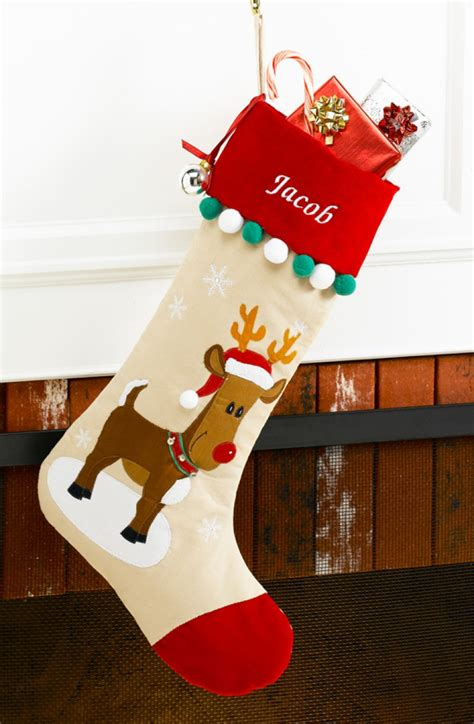 twenty five days of christmas minu stocking on a rope from crackabsral reindeer personalized velvet corduroy