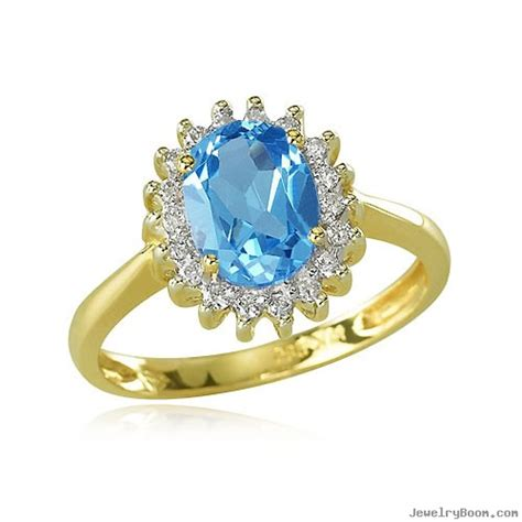 14k yellow gold trimmed oval blue topaz ring