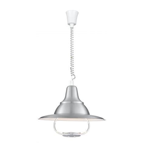 Rise And Fall Pendant Light Rise And Fall Light Fitting In Satin Silver With Curly Cable Suspension