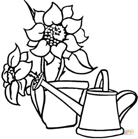 coloring page water can watering can with water coloring page coloring pages