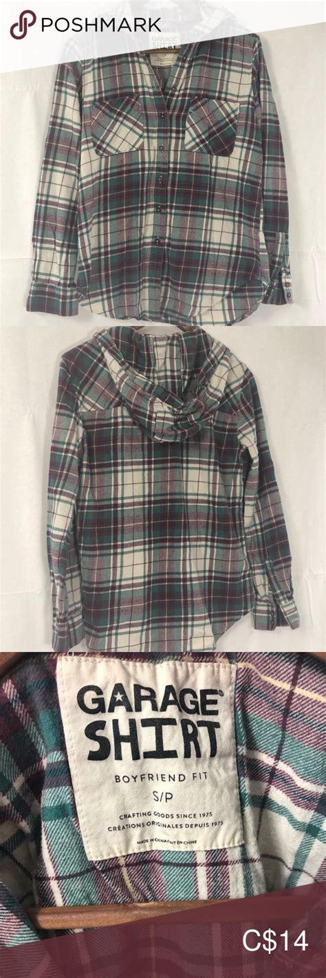 garage boyfriend flannel hooded shirt