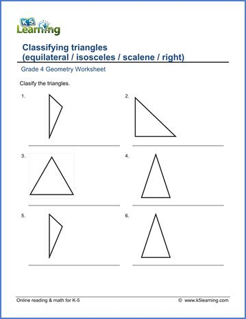 Introduction To Geometry Worksheet by Grade 4 Math Worksheet Geometry Classifying Triangles