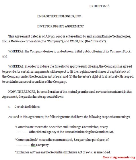 Investor Agreement Contract by 10 Best Images Of Investment Agreement Between Two Investment Contract Agreement