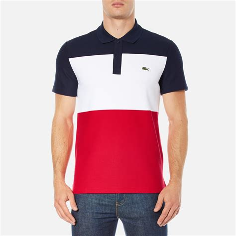 White And Blue Shirt lacoste s sleeve bold stripe polo shirt navy
